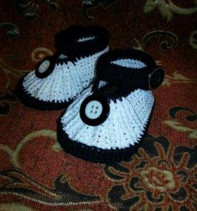 Пинетки - туфельки для малыша на кожаной подошве