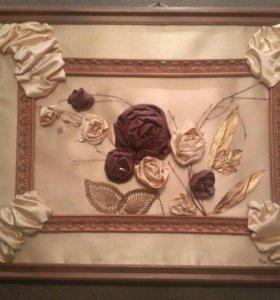 Коллаж из ткани .( Цветы,бусины,декор)