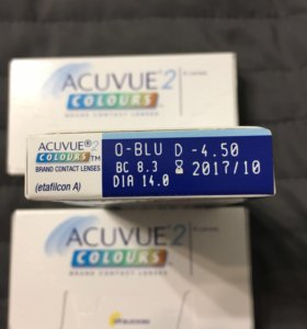 Линзы acuvue colours 2 голубые -4,5, -4, -0,5