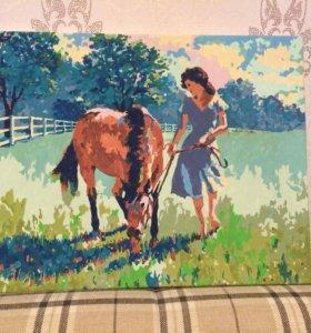 """Картина """" Девушка и лошадь"""""""