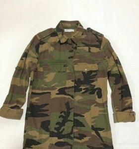 Рубашка , удлиненная модель, ткань плотная