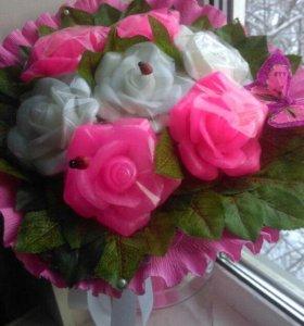 Букетик роз из мыла!