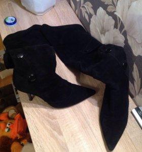 Замшевые ботфорты-сапоги