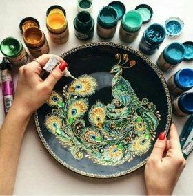 Тарелка ручная роспись