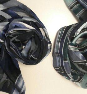 Осенний женский шарф шарфик кароновый атласный
