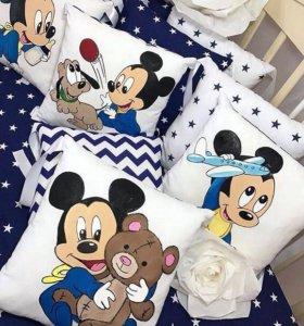 Бортики-подушки в кроватку