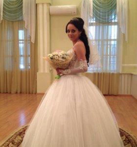 Свадебное платье , шубка