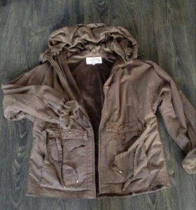 Куртка утепл.иск мехом-плюш- на разм.50, 52