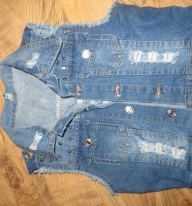 Жилет джинсовый на девочку