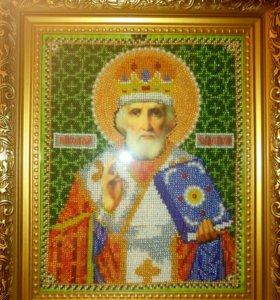 Икона Николая Чудотворца (вышитая бисером)