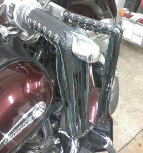 Косы, лапша из кожи на руль мотоцикла с заклепками