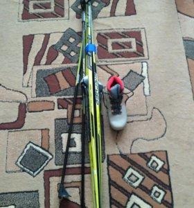 Ботинки лыжные, 37 размер и лыжи 170 см и палки