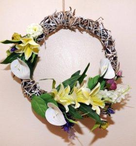 Венок с цветами Лилиями/пион/ подарок