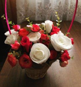 Букеты на заказ ( ручная работа + тканевые цветы)