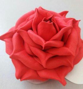 """Заколка """" Красная роза"""""""