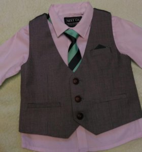 Рубашка, жилет, галстук Next 3-6 мес