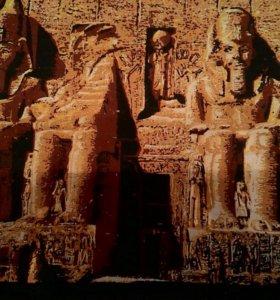 """Картина на папирусе """"Храм в абу Симбел"""""""