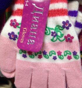 Перчатки из коллекции новые для девочек тонкие