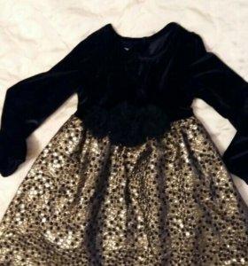 Платье бархат с золотом