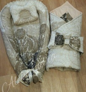Кокон,одеяло конверт с бантом + подушечка