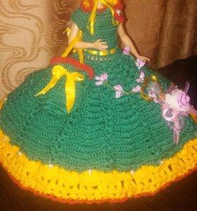 Кукла барби в платье ручной работы!