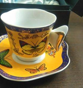 Чашка с блюдцем кофейная или чайная подарочная