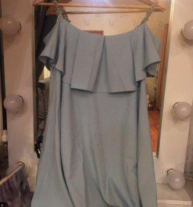 Летнее платье на бретельках из бусинок