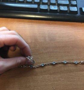 Браслет из серебра с топазами