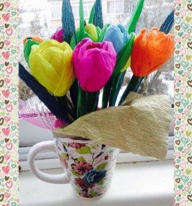 Цветы из конфет)