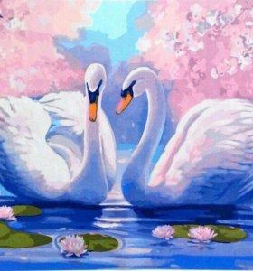 Картины по номерам.Лебеди
