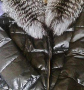 Кожаное пальто пуховик с чернобуркой