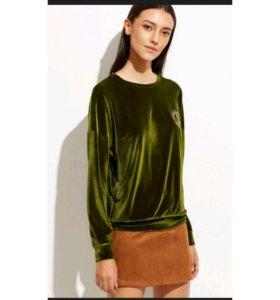 Зелёный вельветовый свитшот.