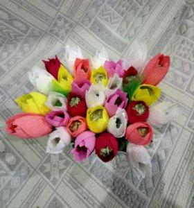 Тюльпаны из конфет