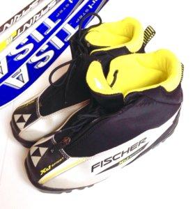 Лыжи, ботинки fischer, лыжные палки
