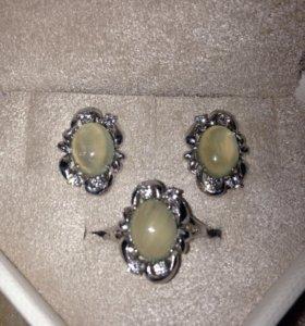 Серьги, кольцо 💍 серебро