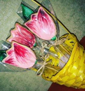 Имбирные пряники -тюльпаны