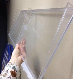 Пластиковая прозрачная полка на фальш панель