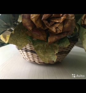 ✅Плетеная корзинка с розами из клёна, hand made