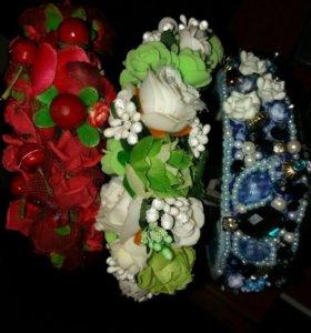 Цветочные ободки, ободки с камнями и бусинами