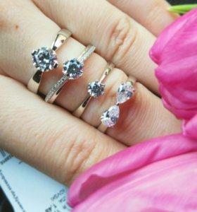 Кольцо серебро + фианиты