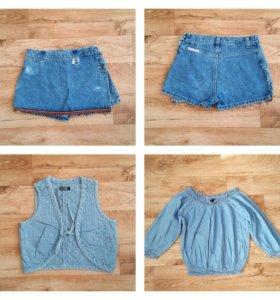 джинсовые шорты жилетка блуза