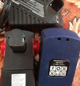 """2 батареи и зарядное на шуруповёрт """"КРАТОН"""""""