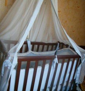 кровать детская +матрас+болд болдахин
