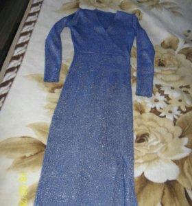 платье-лапша блестящее синее