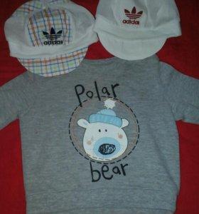 свитшот и две кепки трикотажные летние новые