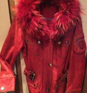 Куртка кожаная с подкладкой L
