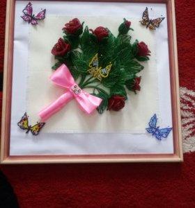 Картина, роза из бисера