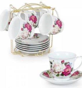 Набор чайный на мет.подставке