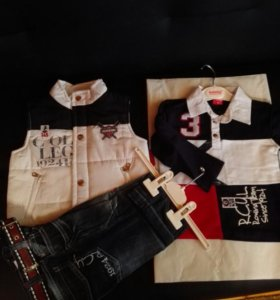 Жилетка, джинсы, рубашка