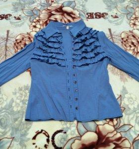 Блузка стрейч с воланами красивыми